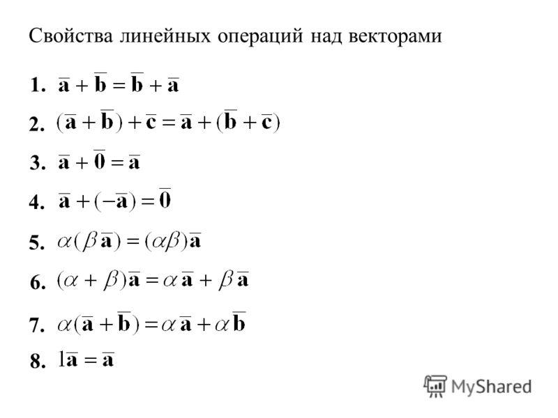 Свойства линейных операций над векторами 4. 1. 2. 8. 7. 6. 5. 3.