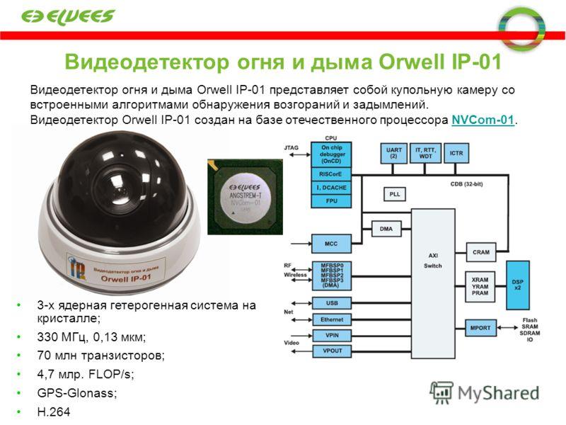 Видеодетектор огня и дыма Orwell IP-01 Видеодетектор огня и дыма Orwell IP-01 представляет собой купольную камеру со встроенными алгоритмами обнаружения возгораний и задымлений. Видеодетектор Orwell IP-01 создан на базе отечественного процессора NVCo