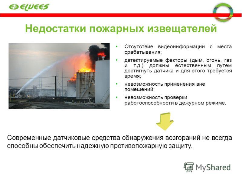 Недостатки пожарных извещателей Отсутствие видеоинформации с места срабатывания; детектируемые факторы (дым, огонь, газ и т.д.) должны естественным путем достигнуть датчика и для этого требуется время; невозможность применения вне помещений; невозмож