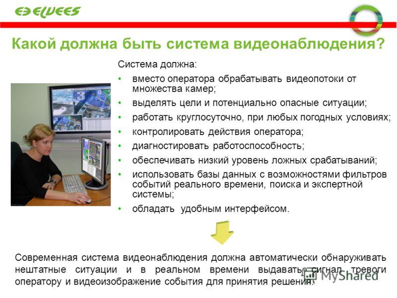 Какой должна быть система видеонаблюдения? видеонаблюдения? Система должна: вместо оператора обрабатывать видеопотоки от множества камер; выделять цели и потенциально опасные ситуации; работать круглосуточно, при любых погодных условиях; контролирова
