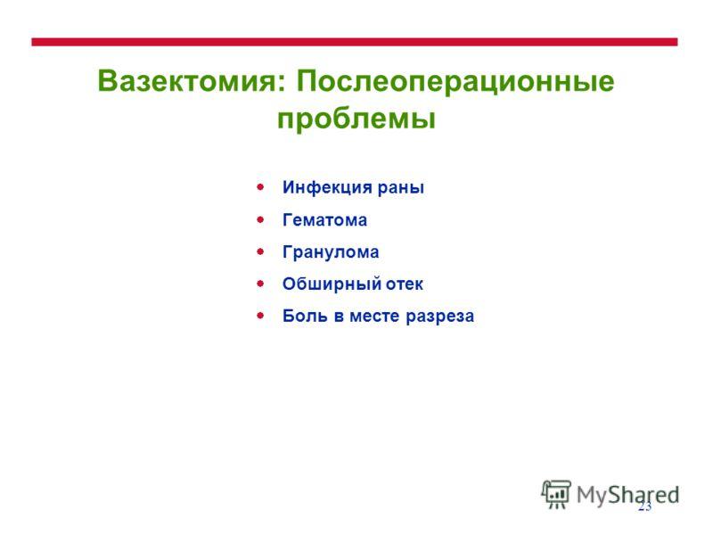 23 Вазектомия: Послеоперационные проблемы Инфекция раны Гематома Гранулома Обширный отек Боль в месте разреза