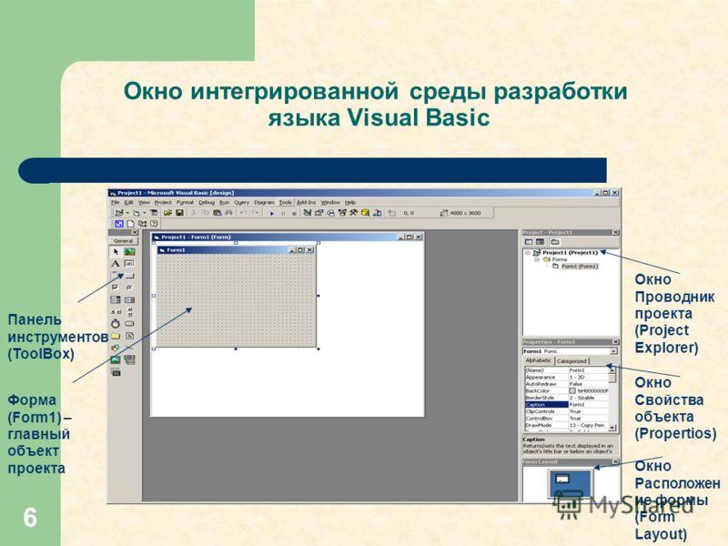 6 Окно интегрированной среды разработки языка Visual Basic Панель инструментов (ToolBox) Форма (Form1) – главный объект проекта Окно Свойства объекта (Propertios) Окно Проводник проекта (Project Explorer) Окно Расположен ие формы (Form Layout)