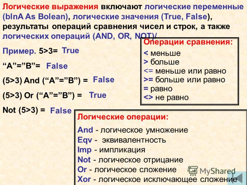 Логические выражения включают логические переменные (blnA As Bolean), логические значения (True, False), результаты операций сравнения чисел и строк, а также логических операций (AND, OR, NOT)/ Пример. 5>3= A=B= (5>3) And (A=B) = (5>3) Or (A=B) = Not