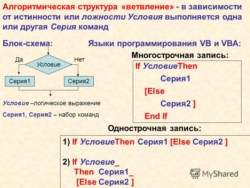 Алгоритмическая структура «ветвление» - в зависимости от истинности или ложности Условия выполняется одна или другая Серия команд Блок-схема:Языки программирования VB и VBA: Многострочная запись: If УсловиеThen Серия1 [Else Серия2 ] End If Однострочн
