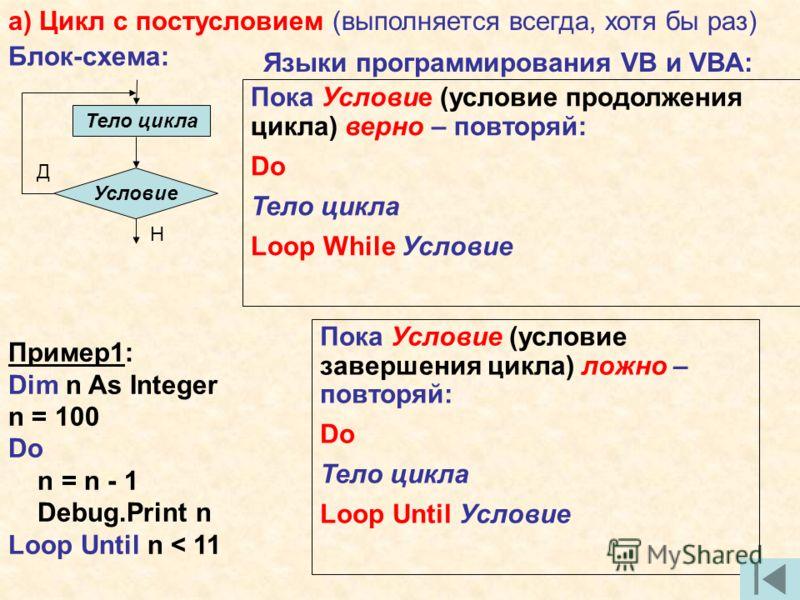 а) Цикл с постусловием (выполняется всегда, хотя бы раз) Блок-схема: Тело цикла Д Н Условие Языки программирования VB и VBA: Пока Условие (условие продолжения цикла) верно – повторяй: Do Тело цикла Loop While Условие Пока Условие (условие завершения