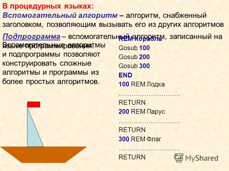 В процедурных языках: Вспомогательный алгоритм – алгоритм, снабженный заголовком, позволяющим вызывать его из других алгоритмов Подпрограмма – вспомогательный алгоритм, записанный на языке программирования. REM Корабль Gosub 100 Gosub 200 Gosub 300 E