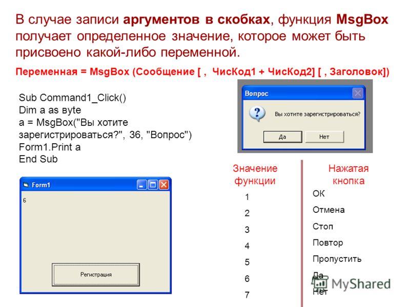 MsgBox (Сообщение [, ЧисКод1 + ЧисКод2] [, Заголовок]) В случае записи аргументов в скобках, функция MsgBox получает определенное значение, которое может быть присвоено какой-либо переменной. Переменная = Sub Command1_Click() Dim a аs вyte a = MsgBox
