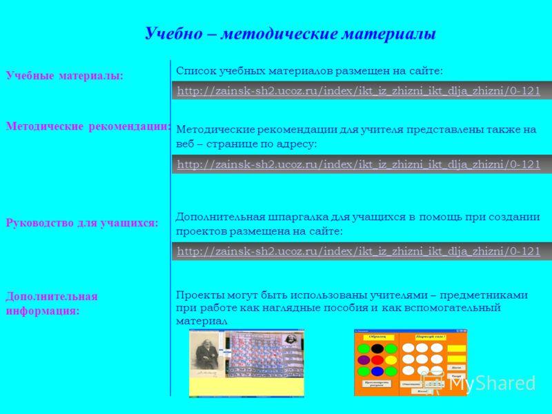 Учебные материалы: Методические рекомендации: Руководство для учащихся: Дополнительная информация: Учебно – методические материалы Список учебных материалов размещен на сайте: Методические рекомендации для учителя представлены также на веб – странице