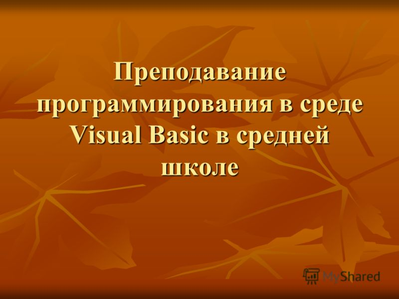 Преподавание программирования в среде Visual Basic в средней школе