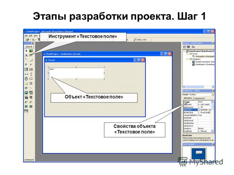 Этапы разработки проекта. Шаг 1 Инструмент «Текстовое поле» Объект «Текстовое поле» Свойства объекта «Текстовое поле»
