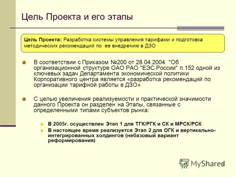 5 Цель Проекта и его этапы В соответствии с Приказом 200 от 28.04.2004.