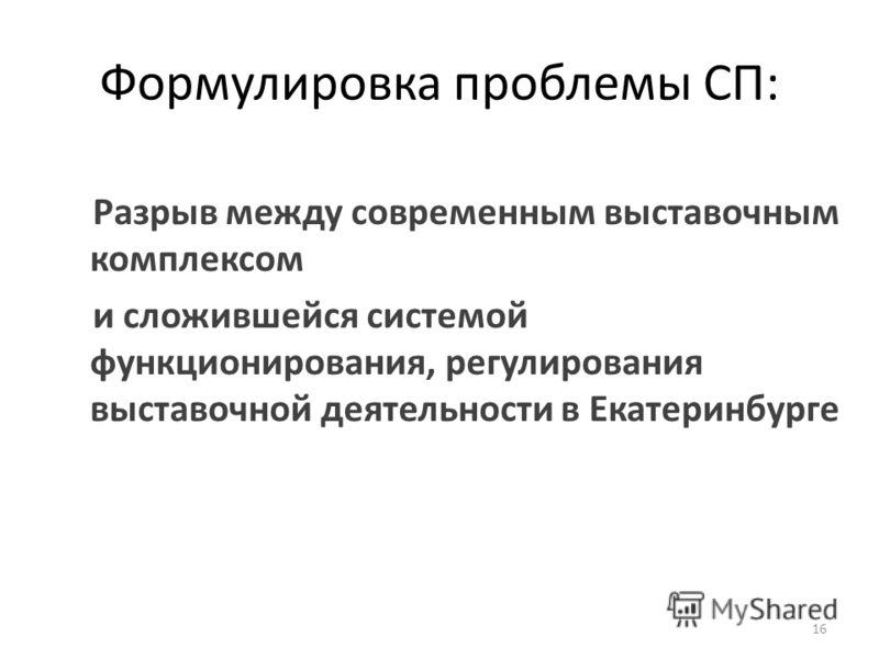Формулировка проблемы СП: Разрыв между современным выставочным комплексом и сложившейся системой функционирования, регулирования выставочной деятельности в Екатеринбурге 16