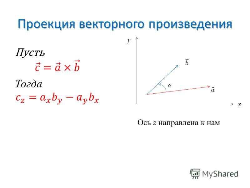 Проекция векторного произведения x y Ось z направлена к нам