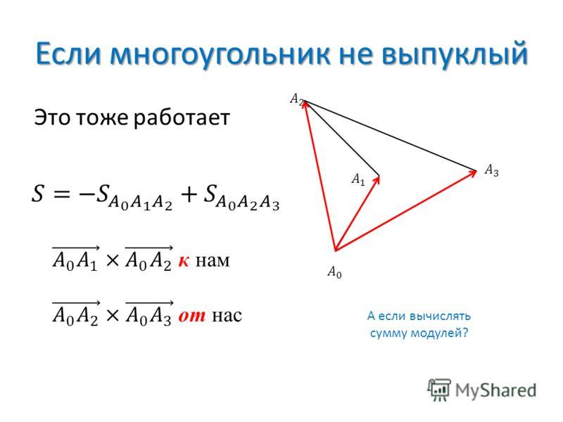 Если многоугольник не выпуклый Это тоже работает А если вычислять сумму модулей?