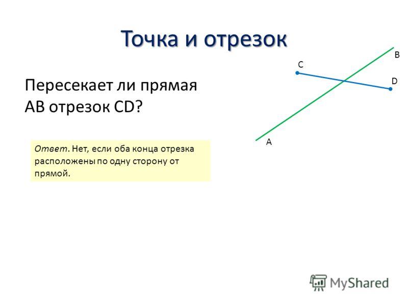 Точка и отрезок Пересекает ли прямая AB отрезок CD? A B C D Ответ. Нет, если оба конца отрезка расположены по одну сторону от прямой.
