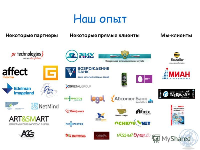 Наш опыт Некоторые партнеры Некоторые прямые клиенты Мы-клиенты