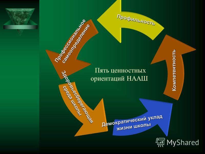 Пять ценностных ориентаций НААШ ПрофессиональноесамоопределениеПрофильностьКомпетентность Демократический уклад жизни школы Здоровьесберегающая среда школы среда школы