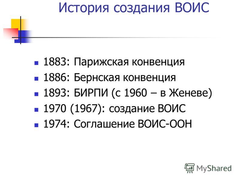 История создания ВОИС 1883: Парижская конвенция 1886: Бернская конвенция 1893: БИРПИ (с 1960 – в Женеве) 1970 (1967): создание ВОИС 1974: Соглашение ВОИС-ООН