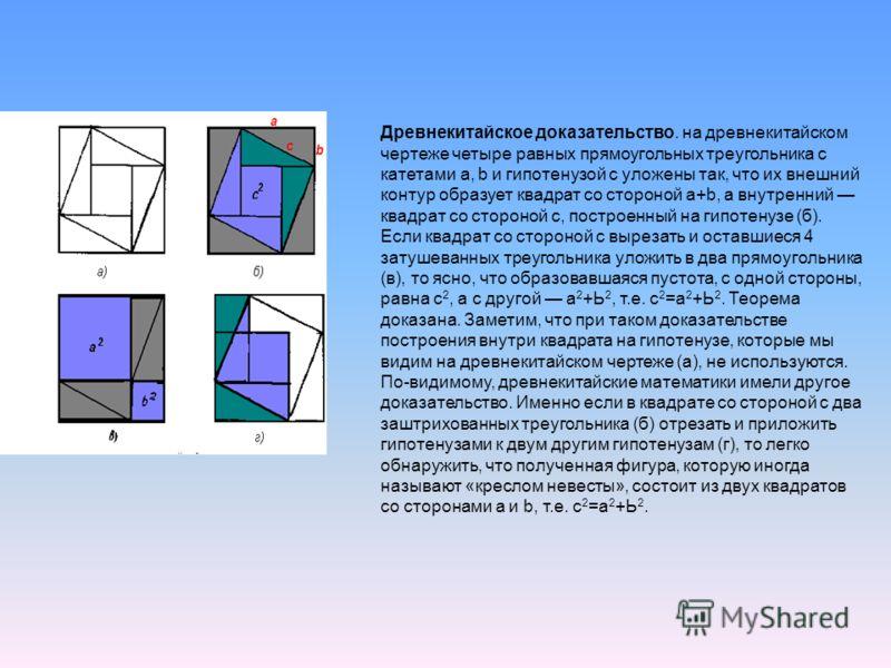рис. 2 Древнекитайское доказательство. на древнекитайском чертеже четыре равных прямоугольных треугольника с катетами а, b и гипотенузой с уложены так, что их внешний контур образует квадрат со стороной а+b, а внутренний квадрат со стороной с, постро
