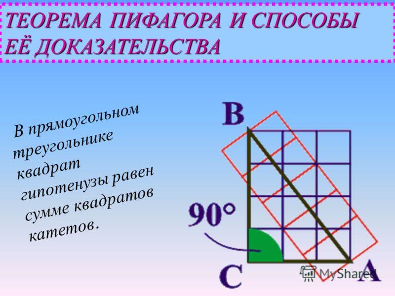 ТЕОРЕМА ПИФАГОРА И СПОСОБЫ ЕЁ ДОКАЗАТЕЛЬСТВА В прямоугольном треугольнике квадрат гипотенузы равен сумме квадратов катетов.