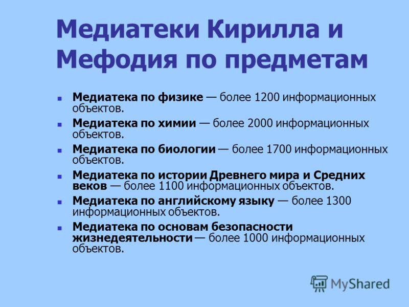 Медиатеки Кирилла и Мефодия по предметам Медиатека по физике более 1200 информационных объектов. Медиатека по химии более 2000 информационных объектов. Медиатека по биологии более 1700 информационных объектов. Медиатека по истории Древнего мира и Сре