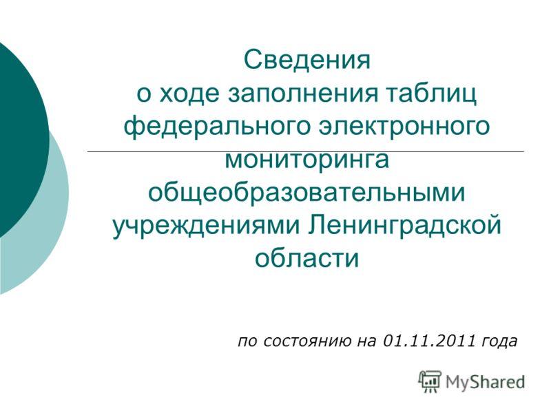 Сведения о ходе заполнения таблиц федерального электронного мониторинга общеобразовательными учреждениями Ленинградской области по состоянию на 01.11.2011 года