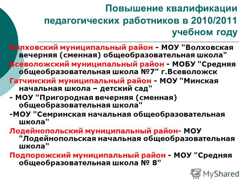 Повышение квалификации педагогических работников в 2010/2011 учебном году Волховский муниципальный район - МОУ