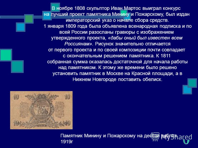 В ноябре 1808 скульптор Иван Мартос выиграл конкурс на лучший проект памятника Минину и Пожарскому, был издан императорский указ о начале сбора средств. 1 января 1809 года была объявлена всенародная подписка и по всей России разосланы гравюры с изобр