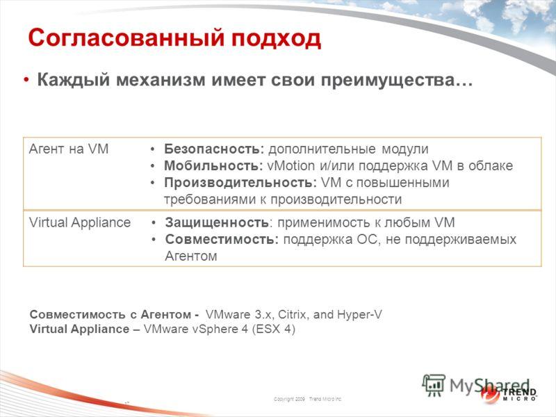 Copyright 2009 Trend Micro Inc. Согласованный подход Каждый механизм имеет свои преимущества… 17 Агент на VMБезопасность: дополнительные модули Мобильность: vMotion и/или поддержка VM в облаке Производительность: VM с повышенными требованиями к произ