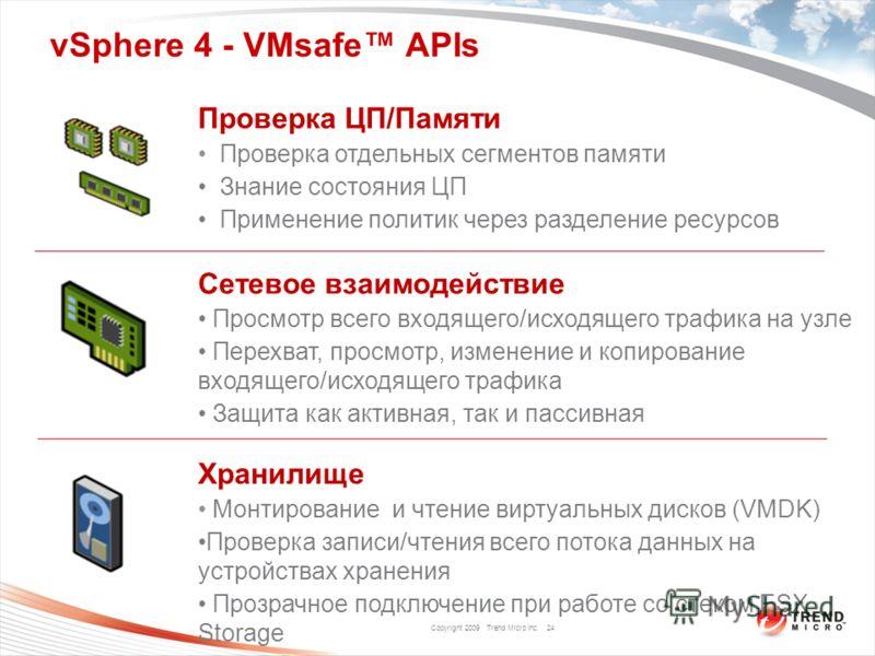 Copyright 2009 Trend Micro Inc. vSphere 4 - VMsafe APIs 24 Проверка ЦП/Памяти Проверка отдельных сегментов памяти Знание состояния ЦП Применение политик через разделение ресурсов Сетевое взаимодействие Просмотр всего входящего/исходящего трафика на у