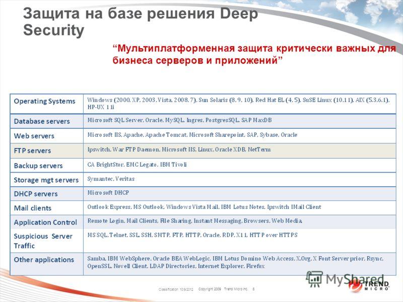Copyright 2009 Trend Micro Inc. Classification 8/9/2012 8 Защита на базе решения Deep Security Мультиплатформенная защита критически важных для бизнеса серверов и приложений