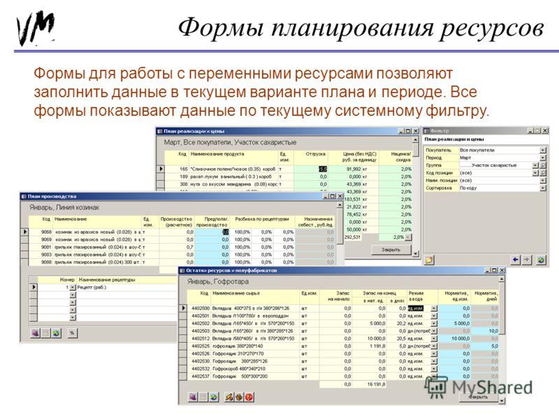 Формы планирования ресурсов Формы для работы с переменными ресурсами позволяют заполнить данные в текущем варианте плана и периоде. Все формы показывают данные по текущему системному фильтру.