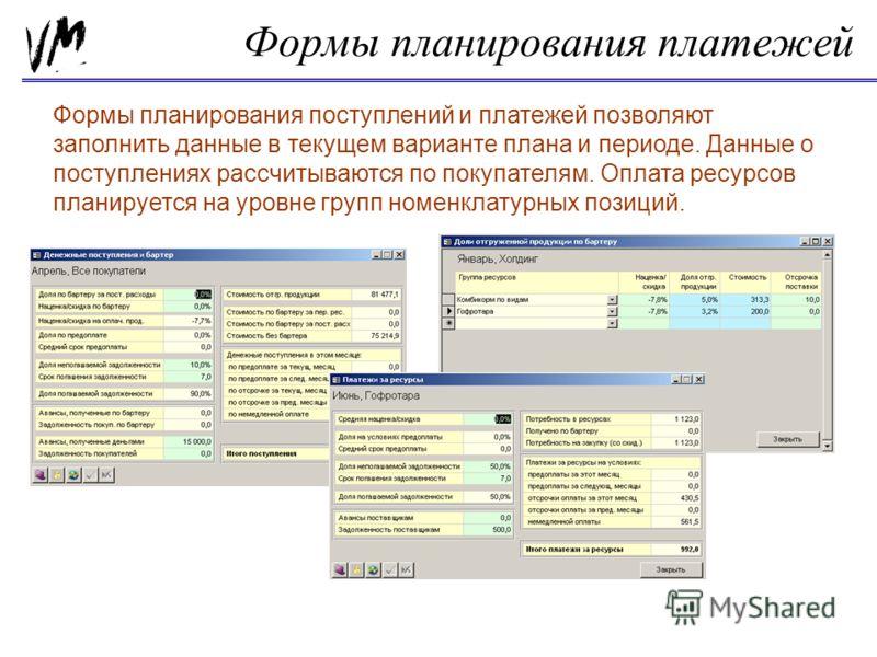 Формы планирования платежей Формы планирования поступлений и платежей позволяют заполнить данные в текущем варианте плана и периоде. Данные о поступлениях рассчитываются по покупателям. Оплата ресурсов планируется на уровне групп номенклатурных позиц