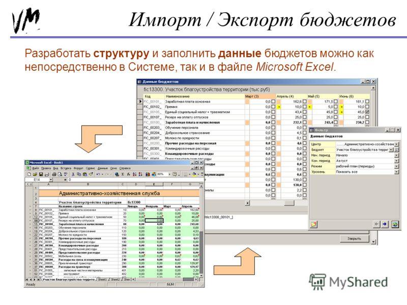 Импорт / Экспорт бюджетов Разработать структуру и заполнить данные бюджетов можно как непосредственно в Системе, так и в файле Microsoft Excel.