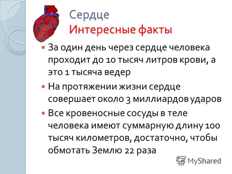 Сердце Интересные факты За один день через сердце человека проходит до 10 тысяч литров крови, а это 1 тысяча ведер На протяжении жизни сердце совершает около 3 миллиардов ударов Все кровеносные сосуды в теле человека имеют суммарную длину 100 тысяч к