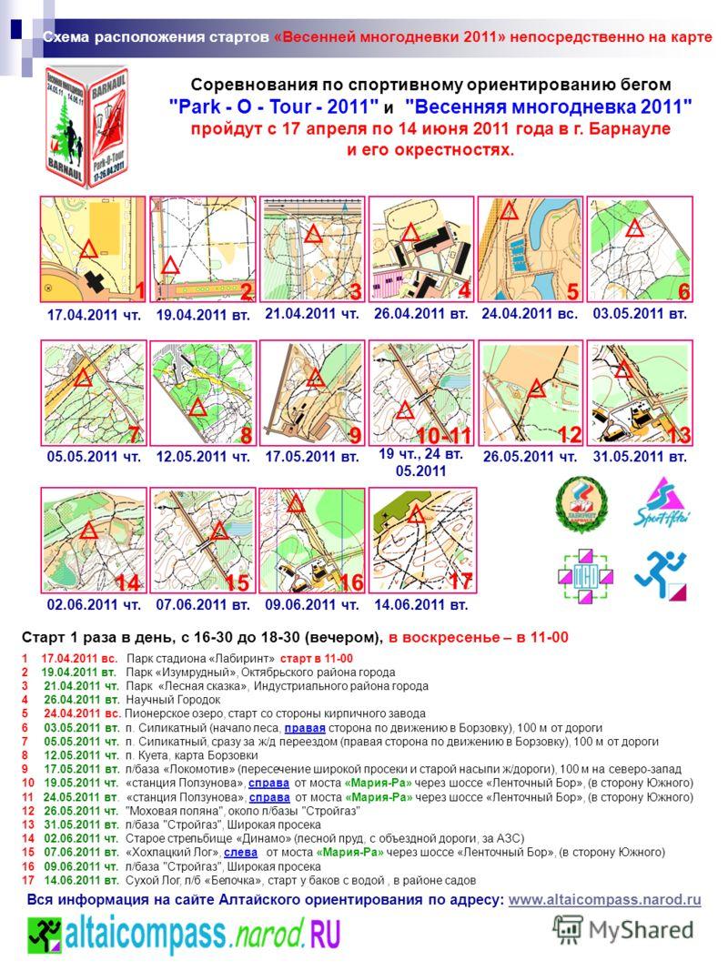 Схема расположения стартов «Весенней многодневки 2011» непосредственно на карте 17 2 16 7 3 Старт 1 раза в день, с 16-30 до 18-30 (вечером), в воскресенье – в 11-00 8 5 10-11 12 6 13 4 9 1415 Вся информация на сайте Алтайского ориентирования по адрес