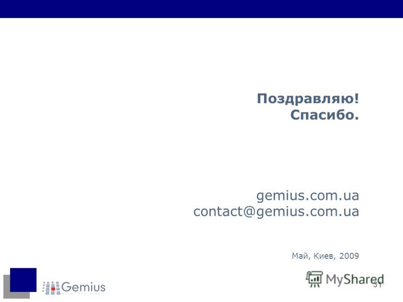 31 Поздравляю! Спасибо. gemius.com.ua contact@gemius.com.ua Май, Киев, 2009