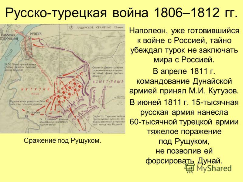 Русско-турецкая война 1806–1812 гг. Наполеон, уже готовившийся к войне с Россией, тайно убеждал турок не заключать мира с Россией. В апреле 1811 г. командование Дунайской армией принял М.И. Кутузов. В июней 1811 г. 15-тысячная русская армия нанесла 6