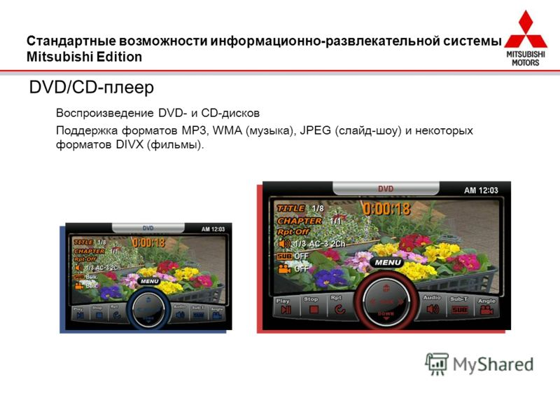 DVD/CD-плеер Воспроизведение DVD- и CD-дисков Поддержка форматов MP3, WMA (музыка), JPEG (слайд-шоу) и некоторых форматов DIVX (фильмы). Стандартные возможности информационно-развлекательной системы Mitsubishi Edition