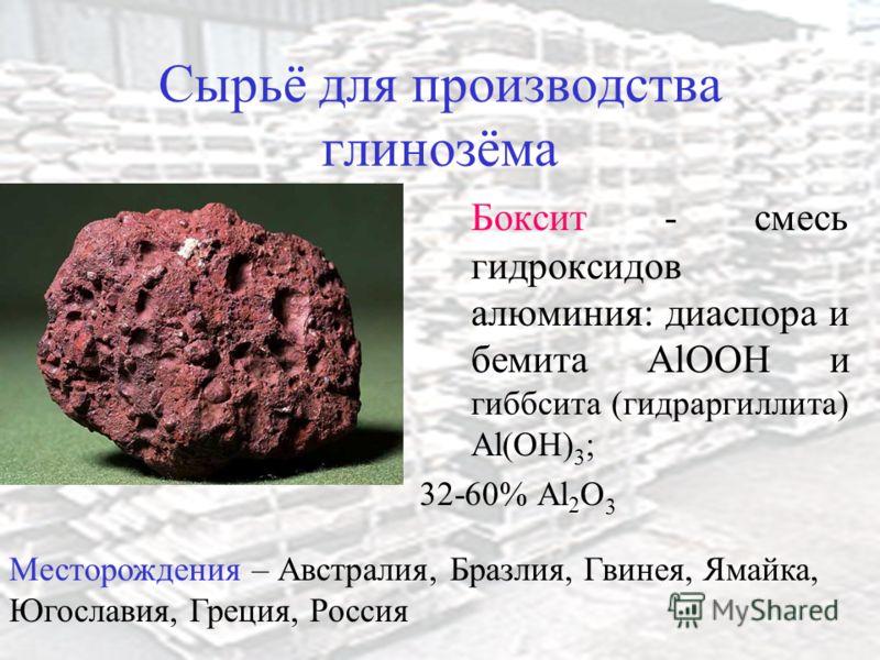 Сырьё для производства глинозёма Боксит - смесь гидроксидов алюминия: диаспора и бемита AlOOH и гиббсита (гидраргиллита) Al(OH) 3 ; 32-60% Al 2 O 3 Месторождения – Австралия, Бразлия, Гвинея, Ямайка, Югославия, Греция, Россия
