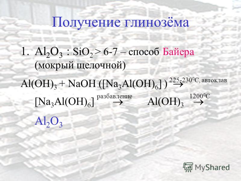Получение глинозёма 1.Al 2 O 3 : SiO 2 > 6-7 – способ Байера (мокрый щелочной) Al(OH) 3 + NaOH ([Na 3 Al(OH) 6 ] ) [Na 3 Al(OH) 6 ] Al(OH) 3 Al 2 O 3 225-230 0 C, автоклав разбавление12000C12000C