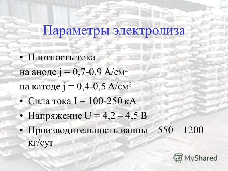 Параметры электролиза Плотность тока на аноде j = 0,7-0,9 А/см 2 на катоде j = 0,4-0,5 А/см 2 Сила тока I = 100-250 кА Напряжение U = 4,2 – 4,5 В Производительность ванны – 550 – 1200 кг/сут