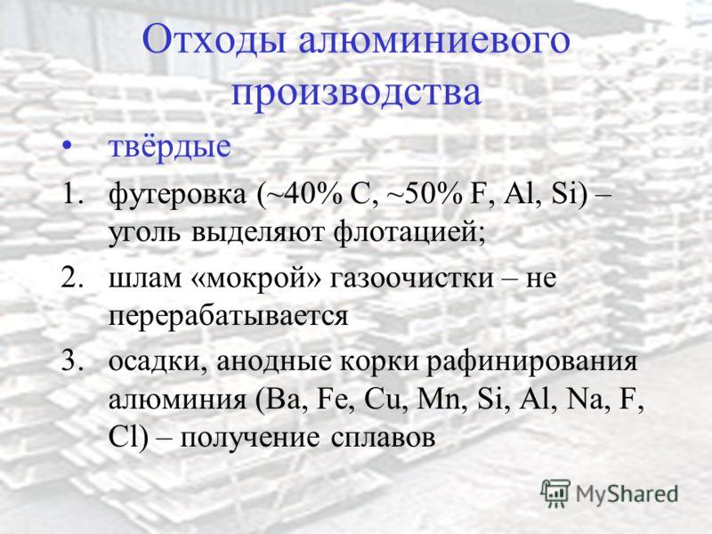 Отходы алюминиевого производства твёрдые 1.футеровка (~40% С, ~50% F, Al, Si) – уголь выделяют флотацией; 2.шлам «мокрой» газоочистки – не перерабатывается 3.осадки, анодные корки рафинирования алюминия (Ba, Fe, Cu, Mn, Si, Al, Na, F, Cl) – получение