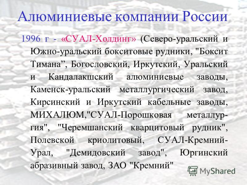 Алюминиевые компании России 1996 г - «СУАЛ-Холдинг» (Северо-уральский и Южно-уральский бокситовые рудники,