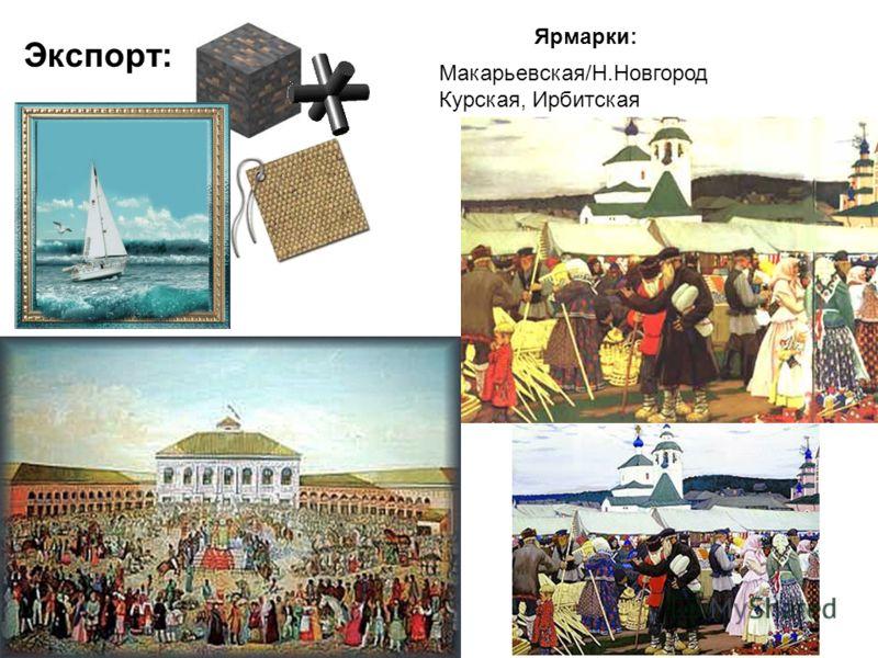 Экспорт: Ярмарки: Макарьевская/Н.Новгород Курская, Ирбитская