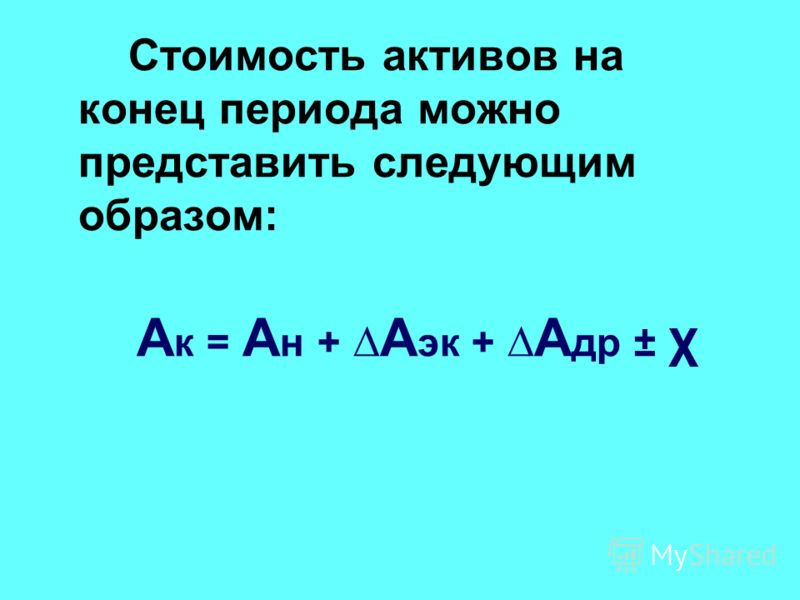 Стоимость активов на конец периода можно представить следующим образом: А к = А н + А эк + А др ± χ