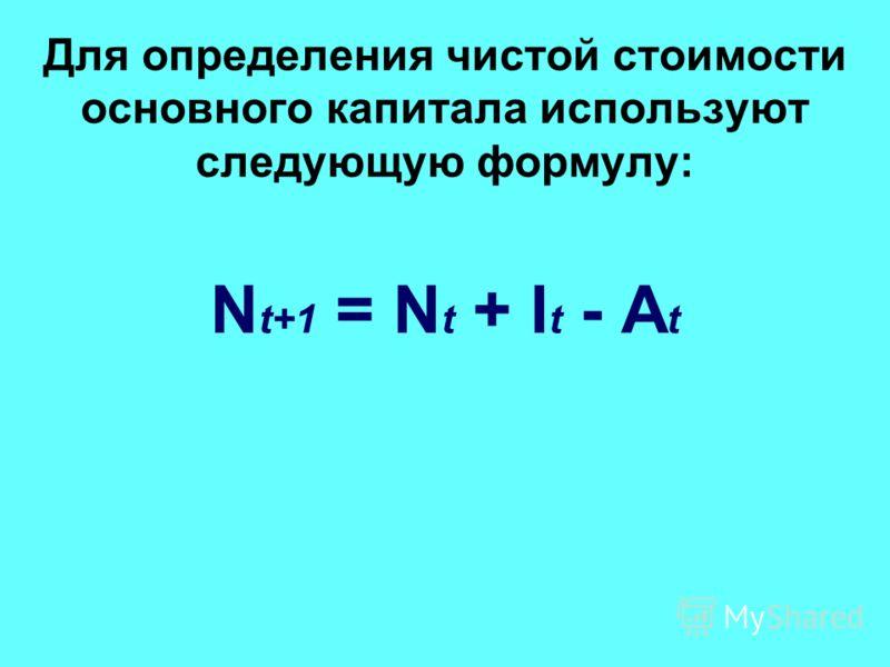 Для определения чистой стоимости основного капитала используют следующую формулу: N t+1 = N t + I t - A t