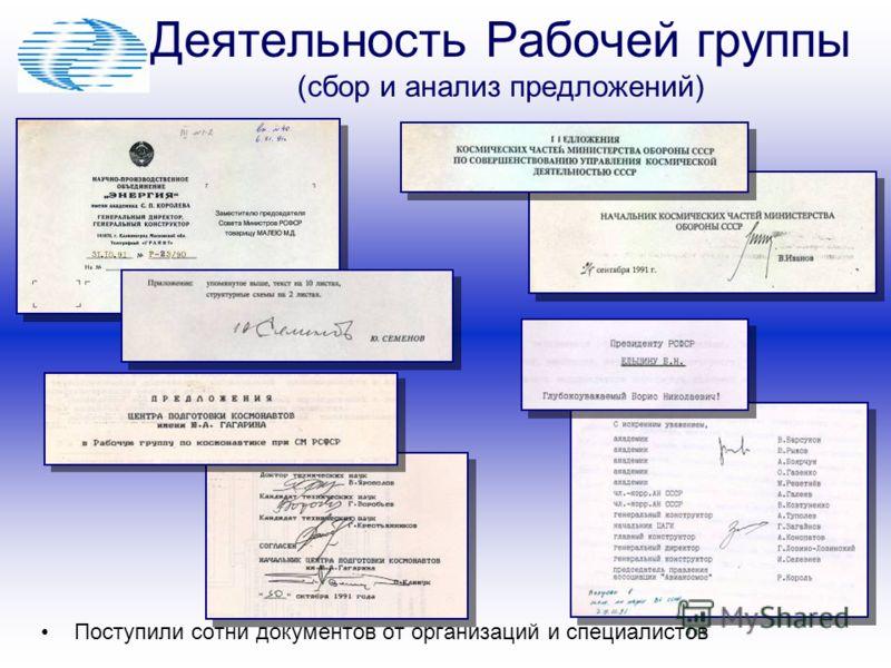 Деятельность Рабочей группы (сбор и анализ предложений) Поступили сотни документов от организаций и специалистов