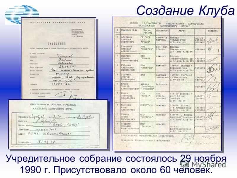 Учредительное собрание состоялось 29 ноября 1990 г. Присутствовало около 60 человек. Создание Клуба