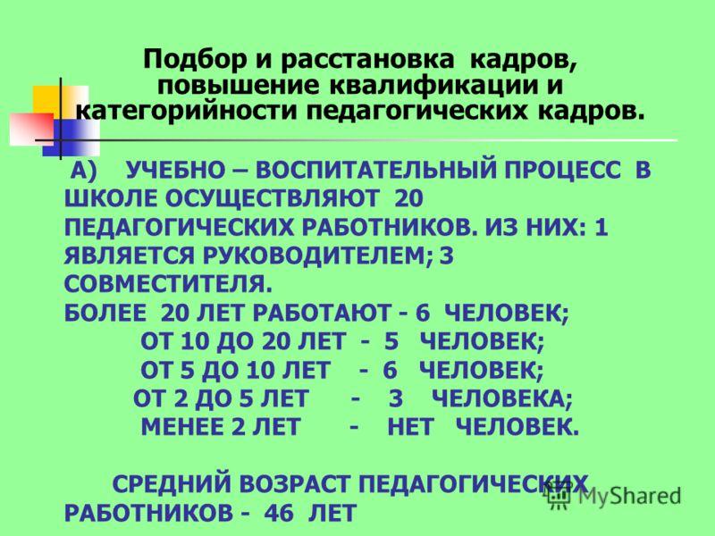 А) УЧЕБНО – ВОСПИТАТЕЛЬНЫЙ ПРОЦЕСС В ШКОЛЕ ОСУЩЕСТВЛЯЮТ 20 ПЕДАГОГИЧЕСКИХ РАБОТНИКОВ. ИЗ НИХ: 1 ЯВЛЯЕТСЯ РУКОВОДИТЕЛЕМ; 3 СОВМЕСТИТЕЛЯ. БОЛЕЕ 20 ЛЕТ РАБОТАЮТ - 6 ЧЕЛОВЕК; ОТ 10 ДО 20 ЛЕТ - 5 ЧЕЛОВЕК; ОТ 5 ДО 10 ЛЕТ - 6 ЧЕЛОВЕК; ОТ 2 ДО 5 ЛЕТ - 3 ЧЕЛО
